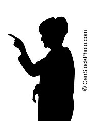 Side profile portrait silhouette of angry accusing lady...