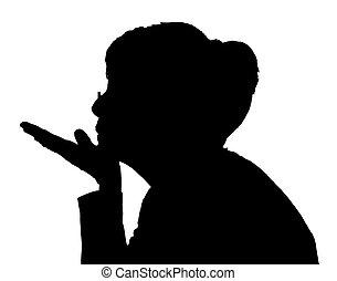 Side profile portrait silhouette of elderly lady blowing kiss