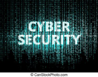 Cyber security background - Binary code in background,...