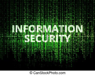 Information security background - Binary code in background,...