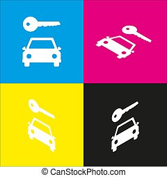 Car key simplistic sign. Vector. White icon with isometric projections on cyan, magenta, yellow and black backgrounds.