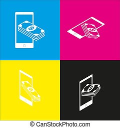 Payment, refill your mobile smart phone,. Vector. White icon...
