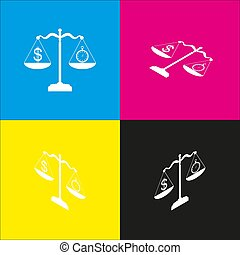 Stopwatch and dollar symbol on scales. Vector. White icon with isometric projections on cyan, magenta, yellow and black backgrounds.