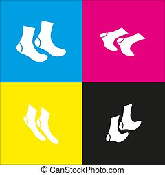 Socks sign. Vector. White icon with isometric projections on...