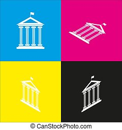 Historical building with flag. Vector. White icon with isometric projections on cyan, magenta, yellow and black backgrounds.