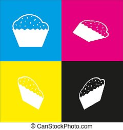 Cupcake sign. Vector. White icon with isometric projections on cyan, magenta, yellow and black backgrounds.