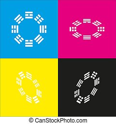 Bagua sign. Vector. White icon with isometric projections on...