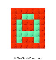Constraction kit with letter - Square constructor element...