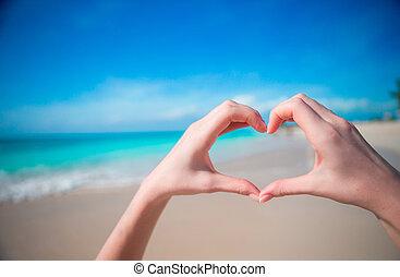 corazón, Caribe, mar, forma, Plano de fondo, Manos