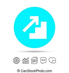 Upstairs icon. Up arrow sign. Copy files, chat speech bubble...