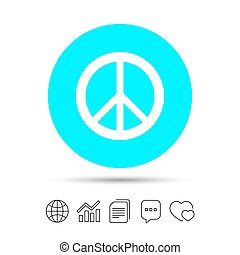 Peace sign icon. Hope symbol. Antiwar sign. Copy files, chat...