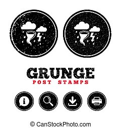 Storm bad weather sign icon. Gale hurricane. - Grunge post...