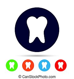 Tooth sign icon. Dental care symbol. Round colourful buttons...