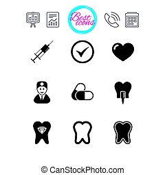 Tooth, dental care icons. Stomatology signs. - Presentation,...