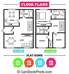 Sale bag tag icons. Discount symbols. - Architecture plan...