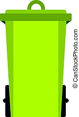 Green trash bin icon isolated - Green trash bin icon flat...