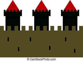 Medieval fortification icon isolated - Medieval...