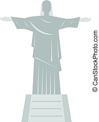 Christ the Redeemer statue icon isolated - Christ the...