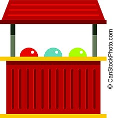 Red carnival fair booth icon isolated - Red carnival fair...