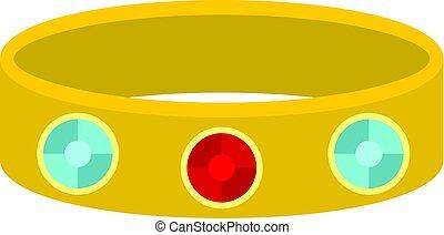 Vintage gold bangle icon isolated - Vintage gold bangle icon...