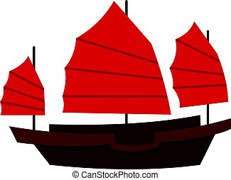 Chinese boat with red sails icon isolated