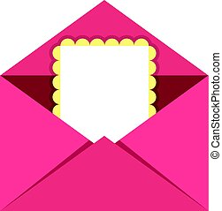 Greeting card in pink envelope icon isolated