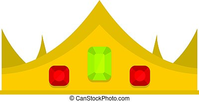 Gold royal crown icon isolated