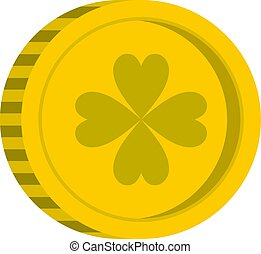Golden coin with clover sign icon isolated