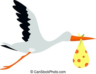 Flying stork with a bundle icon isolated