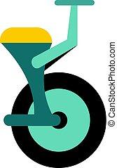 Blue unicycle icon isolated