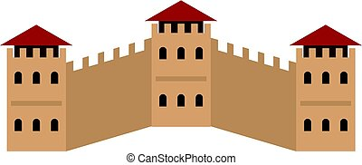 Majestic Great Wall of China icon isolated - Majestic Great...