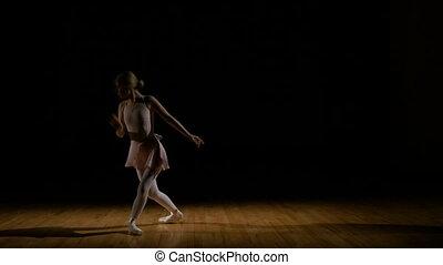 Attractive ballerina girl dancing in her tutu