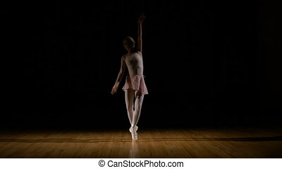 Sensual ballerina dancer practicing in the studio