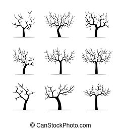 Set Black Apple Trees. Vector Illustration.