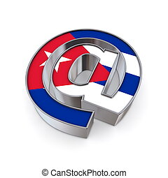 AT National - Cuba - silver shiny chrome @-symbol on white...