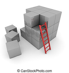 Big Grey Cube Of Blocks - Red Ladder Leant - a grey big cube...