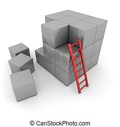 Big Grey Cube Of Blocks - Red Ladder Leant - a grey big cube...