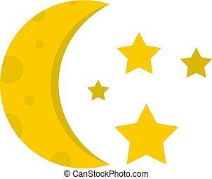 Night sky with stars and moon icon isolated