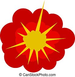Cloudy explosion icon isolated - Cloudy explosion icon flat...
