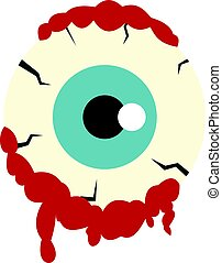 Zombie eyeball icon isolated - Zombie eyeball icon flat...