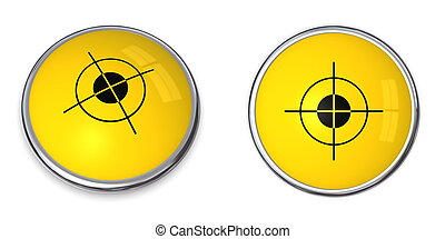 Button Cross Hair Symbol - yellow button with black cross...