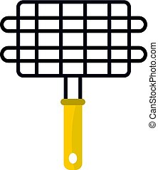 Steel grid for grill icon isolated