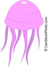 Pink jellyfish icon isolated - Pink jellyfish icon flat...