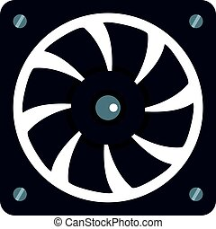 Computer power supply fan icon isolated - Computer power...