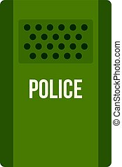 Green police riot shield icon isolated