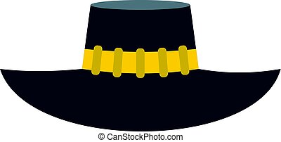 Woman hat icon isolated - Woman hat icon flat isolated on...