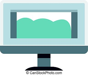 Drawing monitor icon isolated - Drawing monitor icon flat...