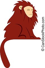 Monkey with long brown hair i icon isolated - Monkey with...