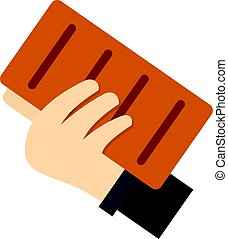 Hand holding a brick icon isolated - Hand holding a brick...