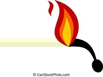 Burning match icon isolated